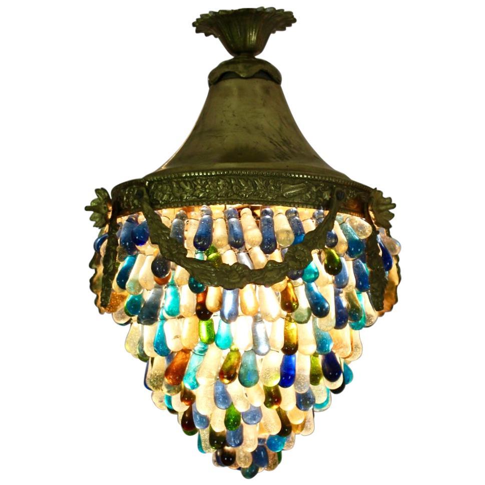 Elegant Neoclassical Murano Glass Acorn Ceiling Light, 1950s