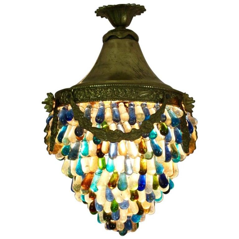 Elegant Neoclassical Murano Glass Acorn Ceiling Light, 1950s For Sale