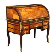 Elegant Neoclassical Rolltop Desk Brazilian Rosewood Cherry, France, 1700