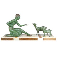 Art Deco Girl Feeding Two Goats Large Sculpture, Onyx Base, D.H Chiparus, 1920s