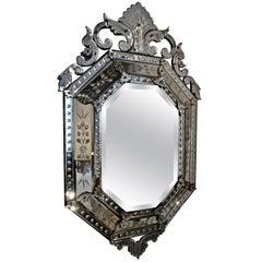 Elegant Octogonal Venetian Mirror, Italy, 1930