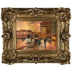 Elegant Oil Painting Blvd. de la Madeleine Paris, Manner of Édouard-Leon Cortes