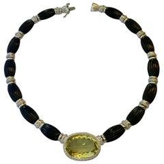 Elegant Onyx, Lemon Citrin and Diamond Necklace 18 Karat White Gold