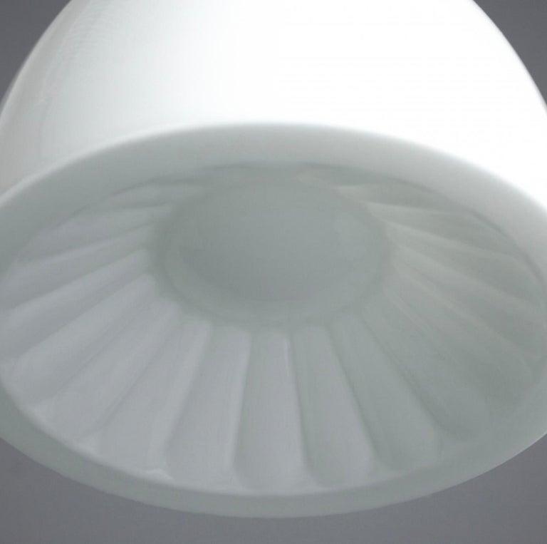 Czech Elegant Opaline Midcentury Glass Pendant and Original Bakelite Galleries, 1960s For Sale
