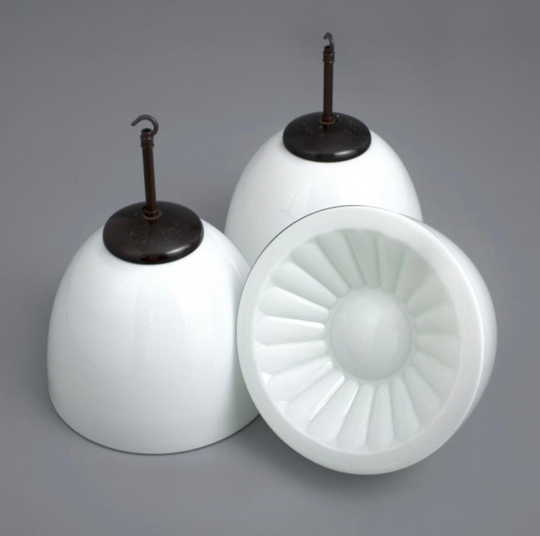 Elegant Opaline Midcentury Glass Pendant and Original Bakelite Galleries, 1960s In Good Condition For Sale In Almelo, NL