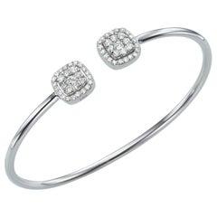 Elegant Open Cuff Bracelet 0.68 Carat 18 Karat Gold Bangle Bracelet