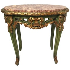 Elegant Ornately Carved Antique Oval French Accent Table