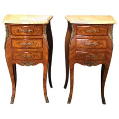 Elegant Pair of Antique French Louis XV Marble-Top Floral Inlay Nightstands