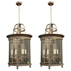 Elegant Pair Large Bronze Louis XVI Neoclassical Lanterns Fixtures Curved Glass