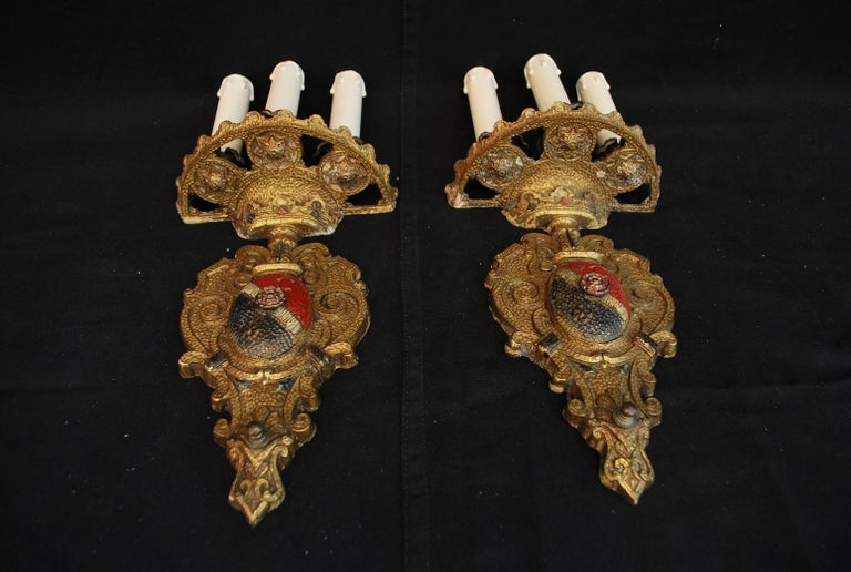 American Elegant Pair of 1920s Brass Sconces For Sale