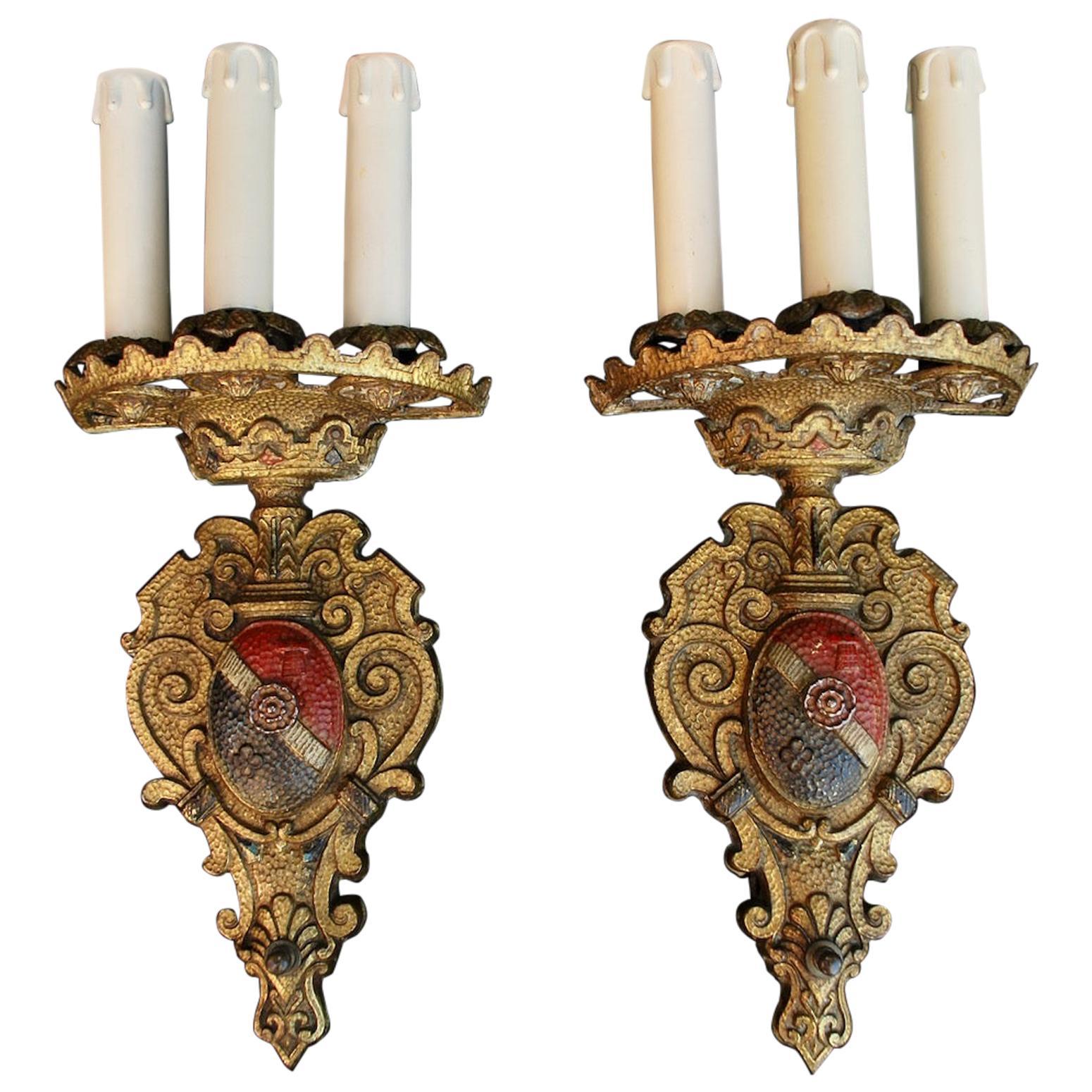 Elegant Pair of 1920s Brass Sconces