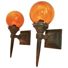 Elegant Pair of 1920s Cast Iron Outdoor Sconces