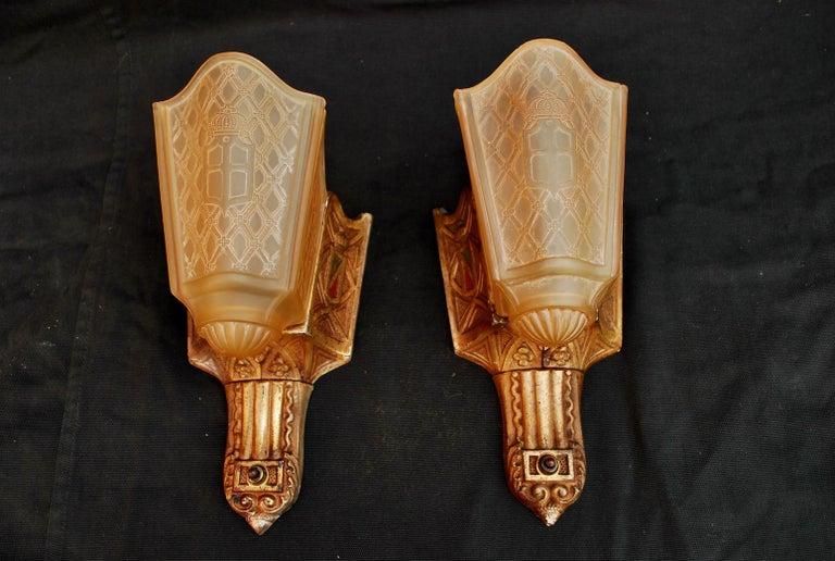 Elegant Pair of 1920s Cast Iron Sconces Signed MOE BRIDGES For Sale 2