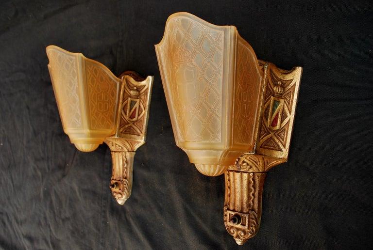 Elegant Pair of 1920s Cast Iron Sconces Signed MOE BRIDGES For Sale 3