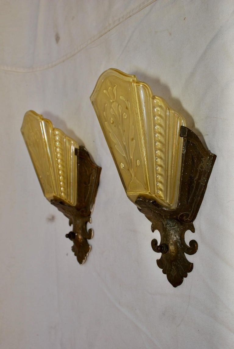 An elegant pair of 1920s sconces.
