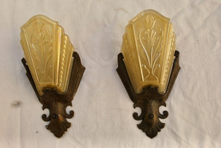 American Elegant Pair of 1920s Spanish Deco Sconces For Sale