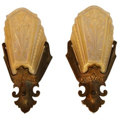 Elegant Pair of 1920s Spanish Deco Sconces