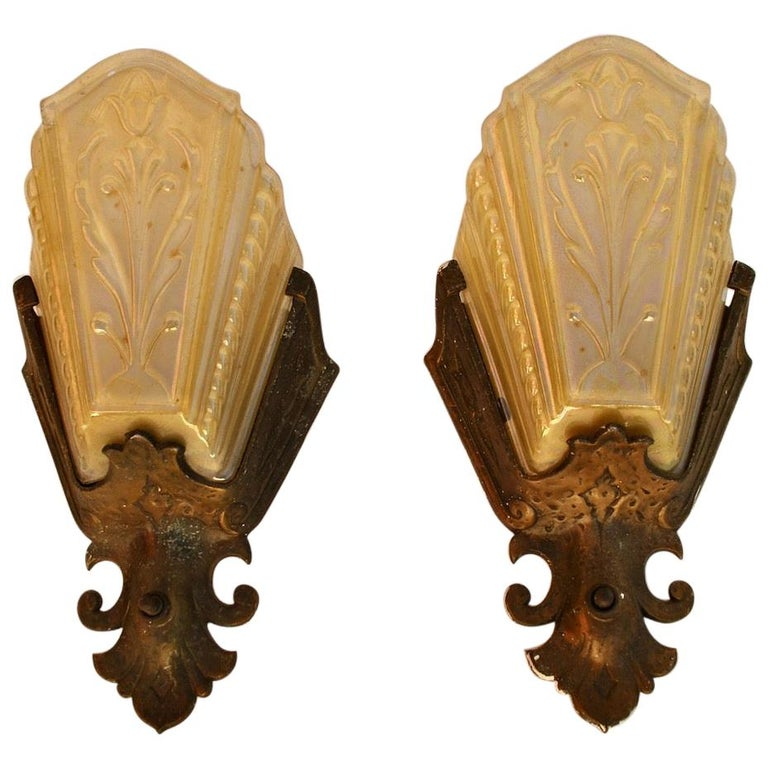 Elegant Pair of 1920s Spanish Deco Sconces For Sale