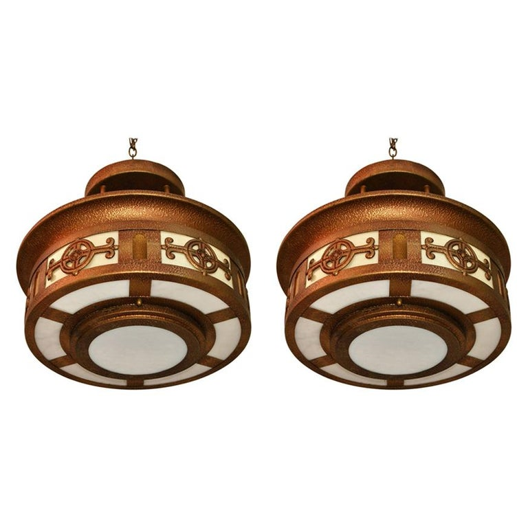Elegant Pair of 1940's Light from Church For Sale