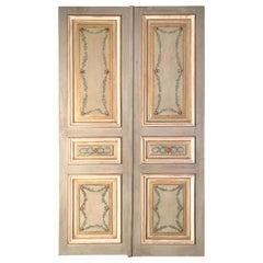 Elegant Pair of 19th Century Italian Painted Doors or Panelling
