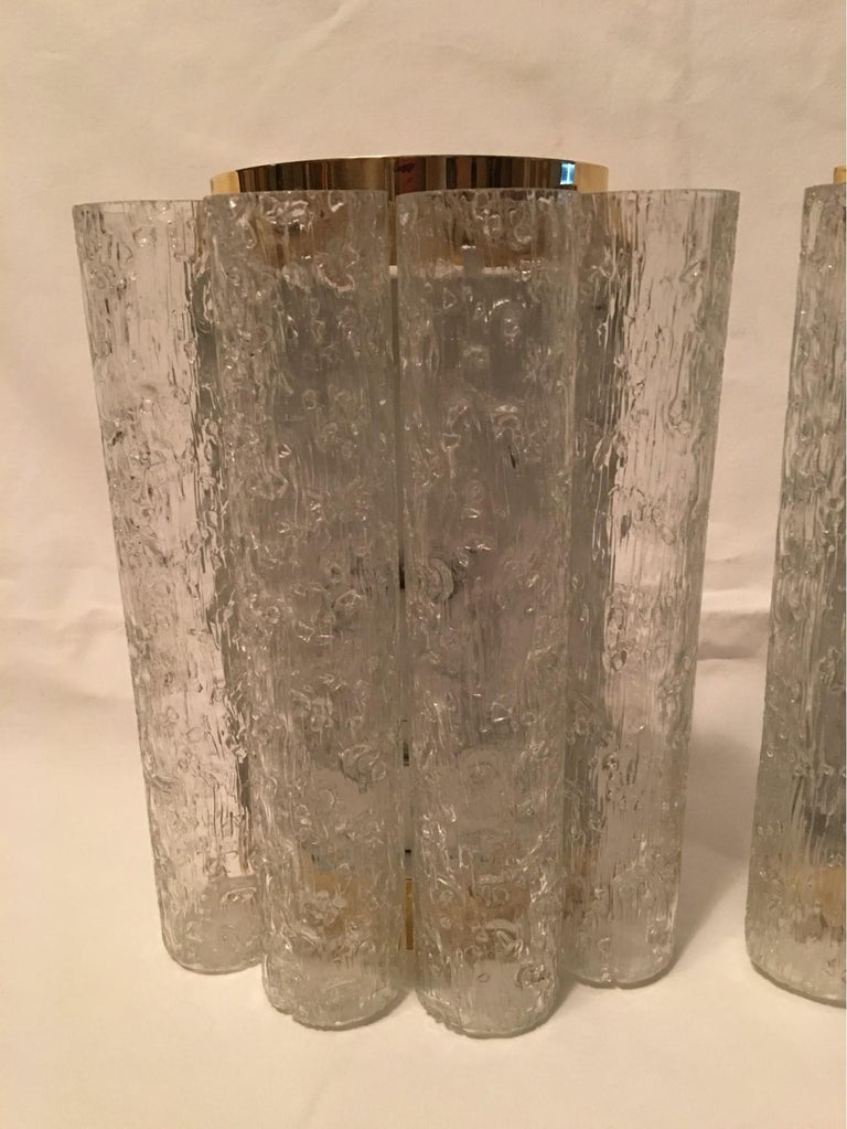 Elegant Pair of 60's Ice Glass Tubes and Brass Sconces by Doria of Germany In Good Condition For Sale In Frisco, TX
