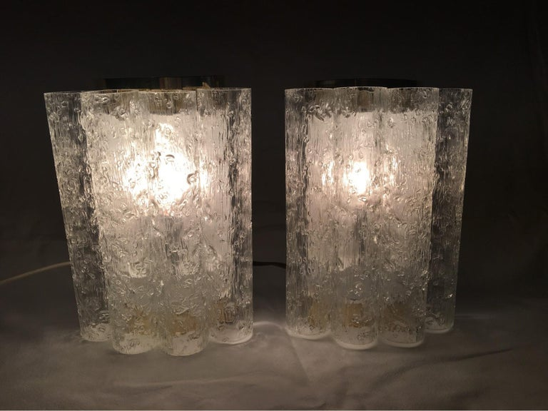 Elegant Pair of 60's Ice Glass Tubes and Brass Sconces by Doria of Germany For Sale 1