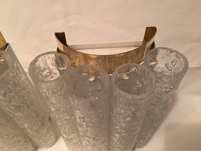 Elegant Pair of 60's Ice Glass Tubes and Brass Sconces by Doria of Germany For Sale 2
