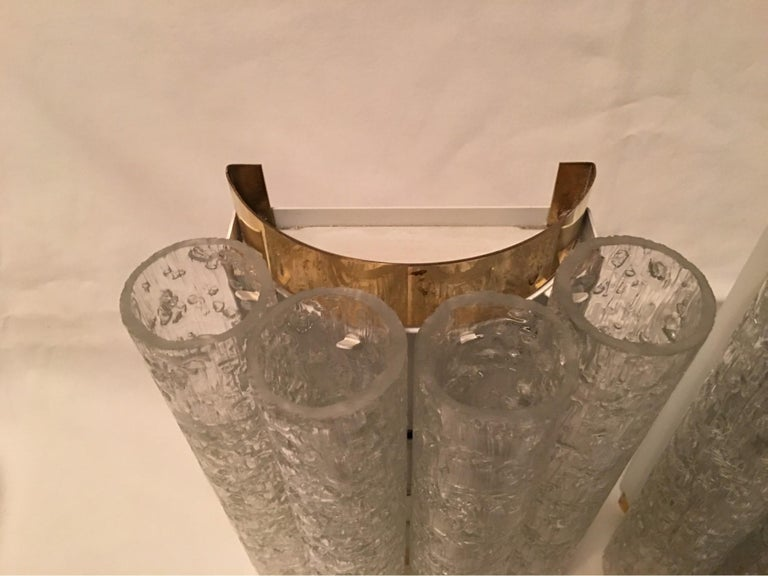 Elegant Pair of 60's Ice Glass Tubes and Brass Sconces by Doria of Germany For Sale 3