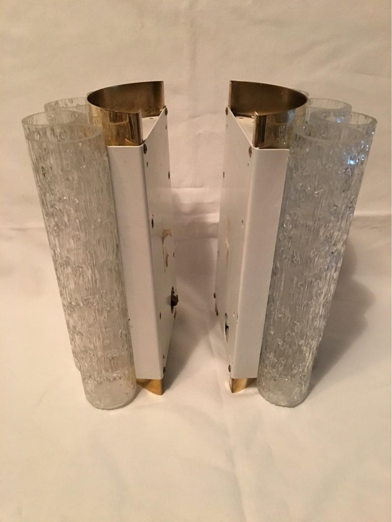 Elegant Pair of 60's Ice Glass Tubes and Brass Sconces by Doria of Germany For Sale 4