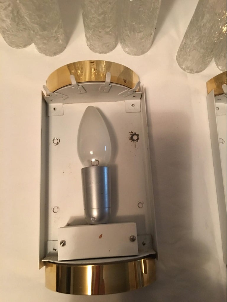 Elegant Pair of 60's Ice Glass Tubes and Brass Sconces by Doria of Germany For Sale 5