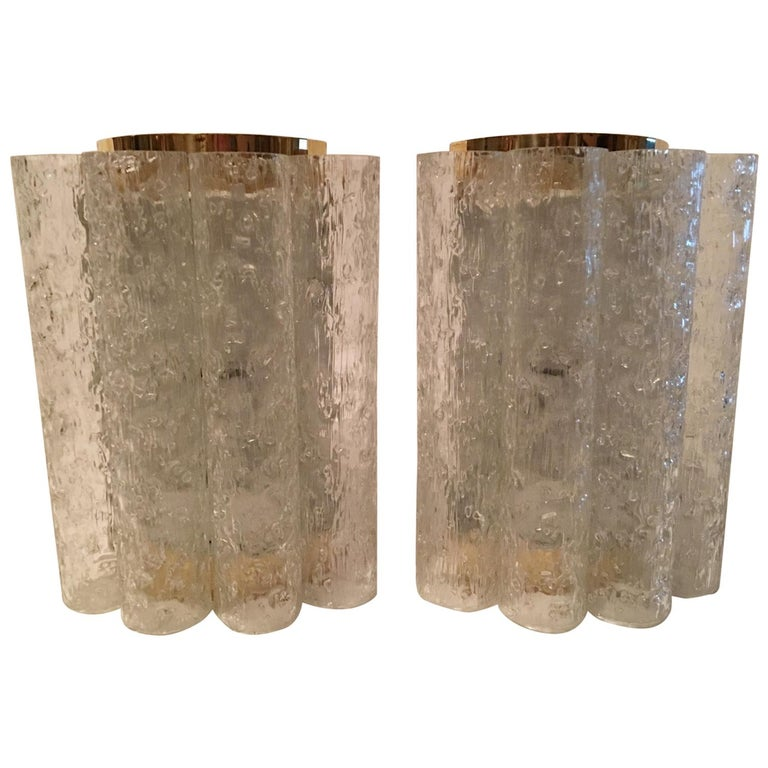 Elegant Pair of 60's Ice Glass Tubes and Brass Sconces by Doria of Germany For Sale