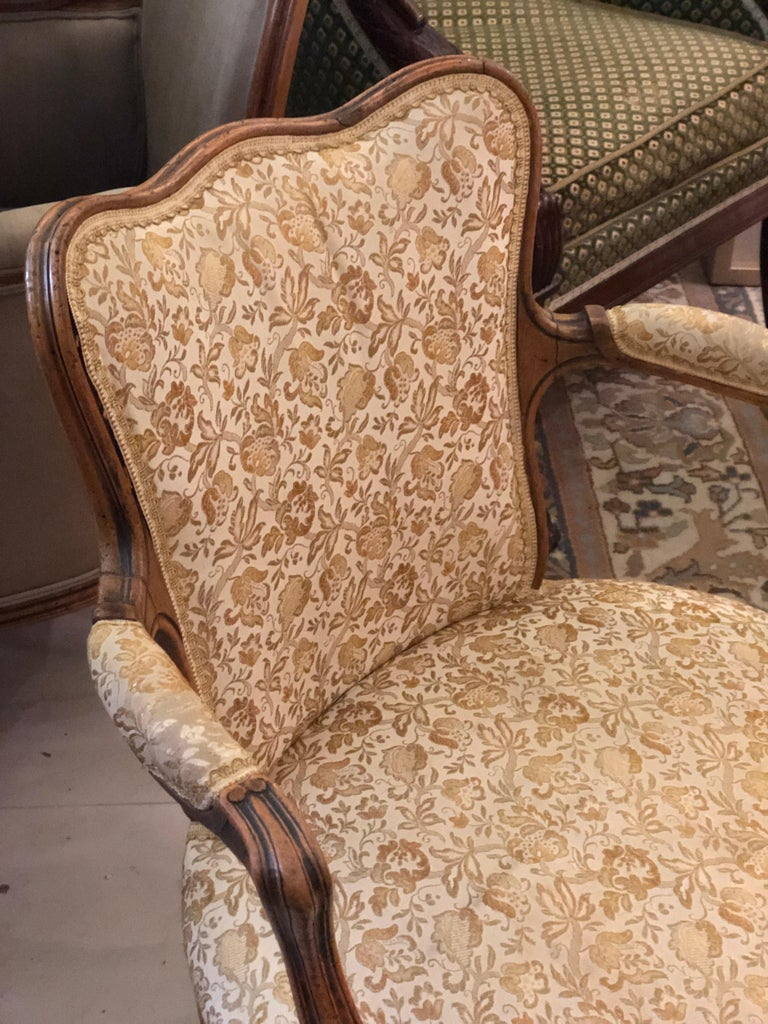 19th Century Elegant Pair of Antique French Armchairs in Louis XV Style, circa 1880 For Sale