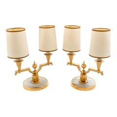 Elegant Pair of Art Deco Brass and Parchment Table Lamps by Genet Michon