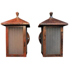 Elegant Pair of Arts & Crafts Copper Outdoor Sconces