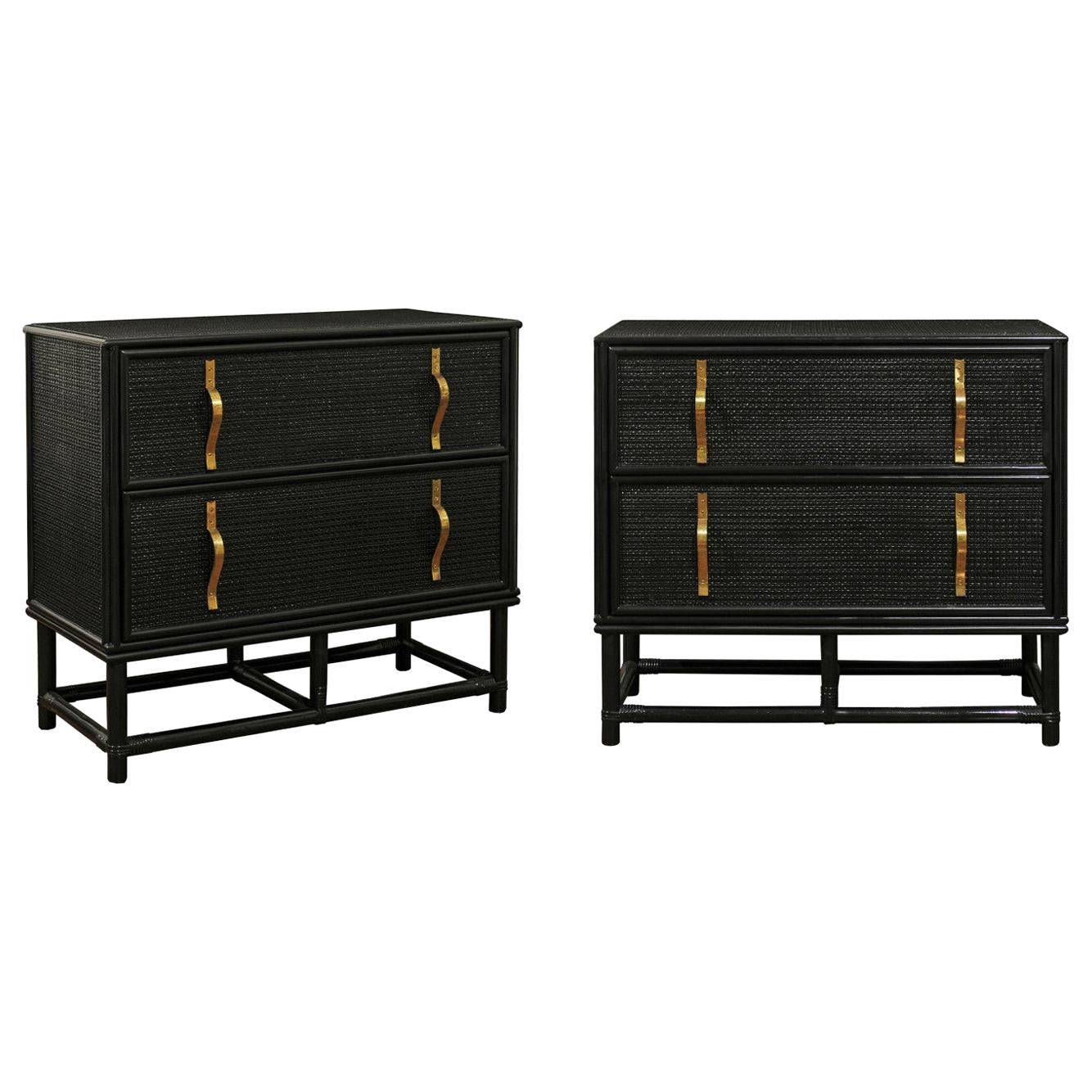 Elegant Pair of Black Lacquer Cane and Brass Commodes by Tommi Parzinger