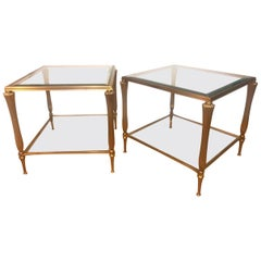 Pair of Brass Two Tier Side Tables