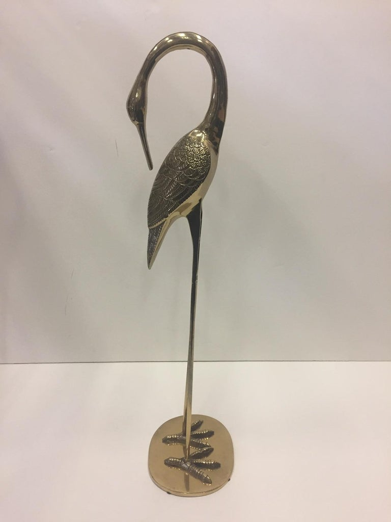 Elegant Pair of Cast Brass Crane Sculptures For Sale 1