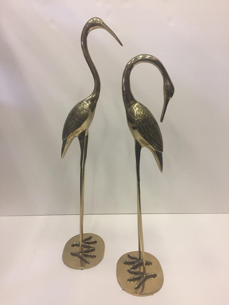 Elegant Pair of Cast Brass Crane Sculptures For Sale 2
