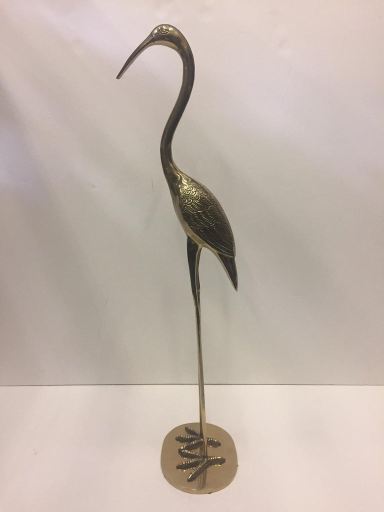 Elegant Pair of Cast Brass Crane Sculptures For Sale 3