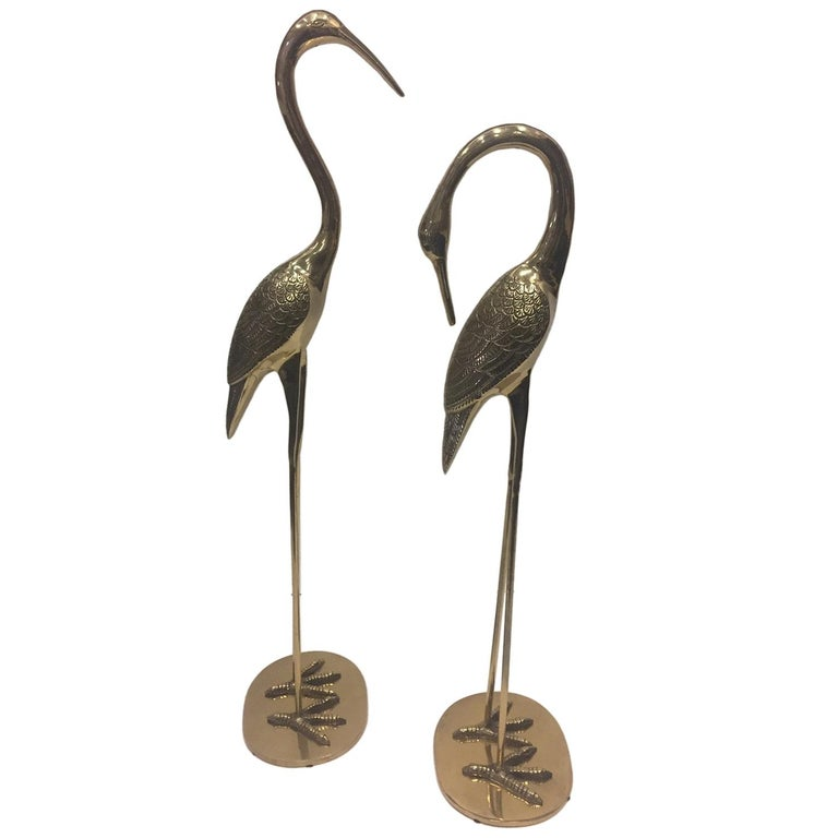 Elegant Pair of Cast Brass Crane Sculptures For Sale