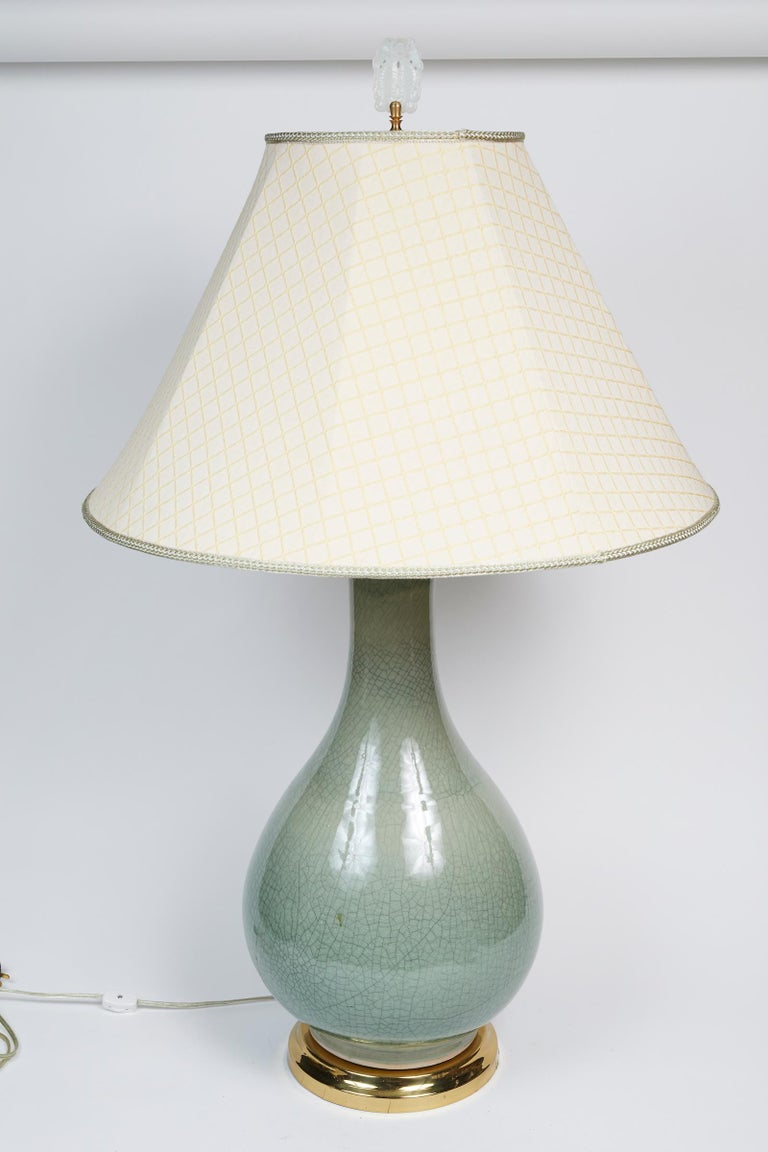 Elegant Pair of Celadon Crackle Table Lamps For Sale 5