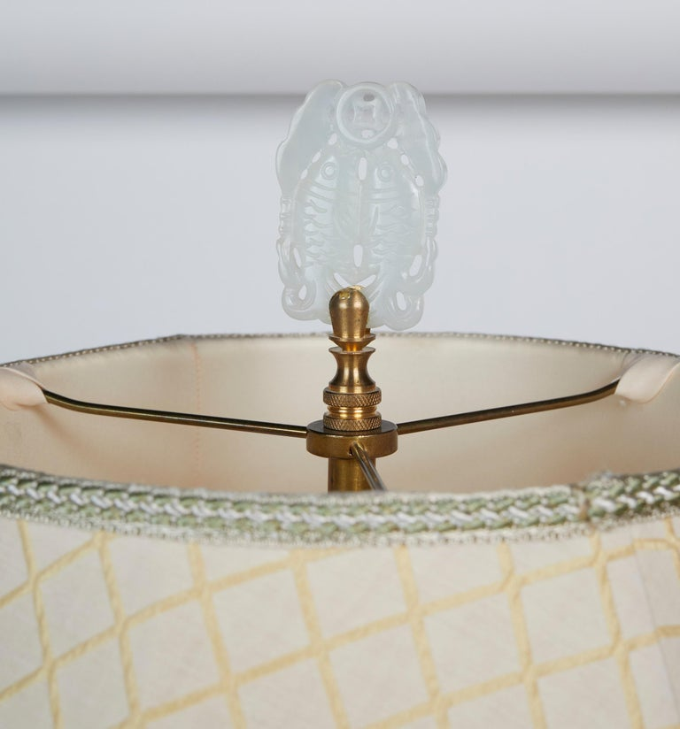 Elegant Pair of Celadon Crackle Table Lamps For Sale 6