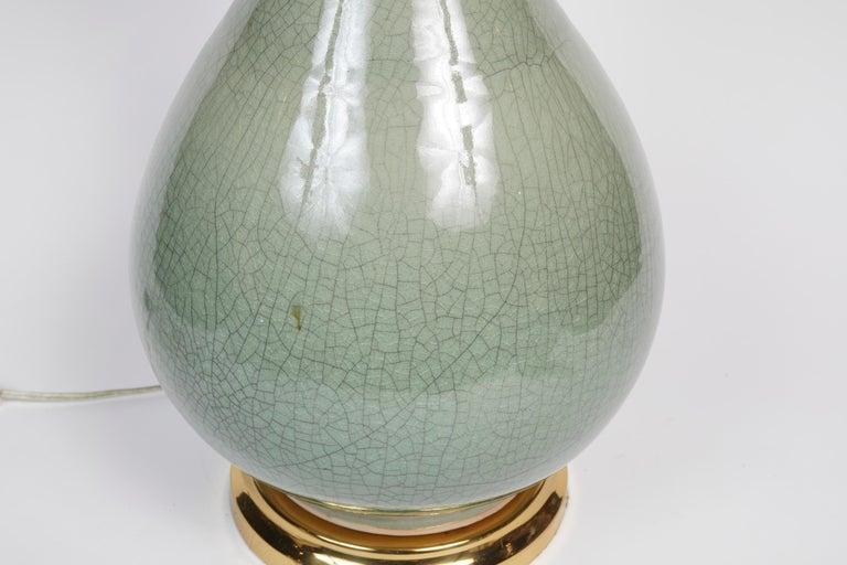 Elegant Pair of Celadon Crackle Table Lamps For Sale 9