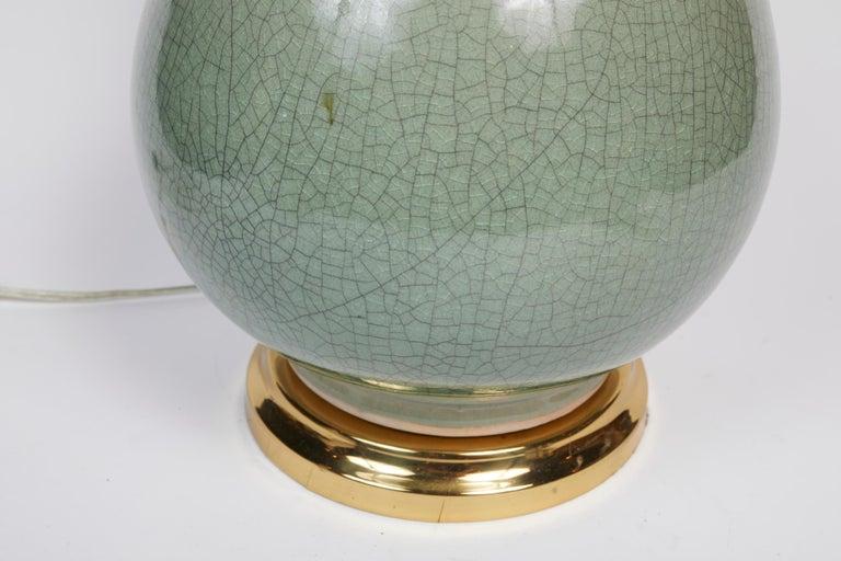 Elegant Pair of Celadon Crackle Table Lamps For Sale 10