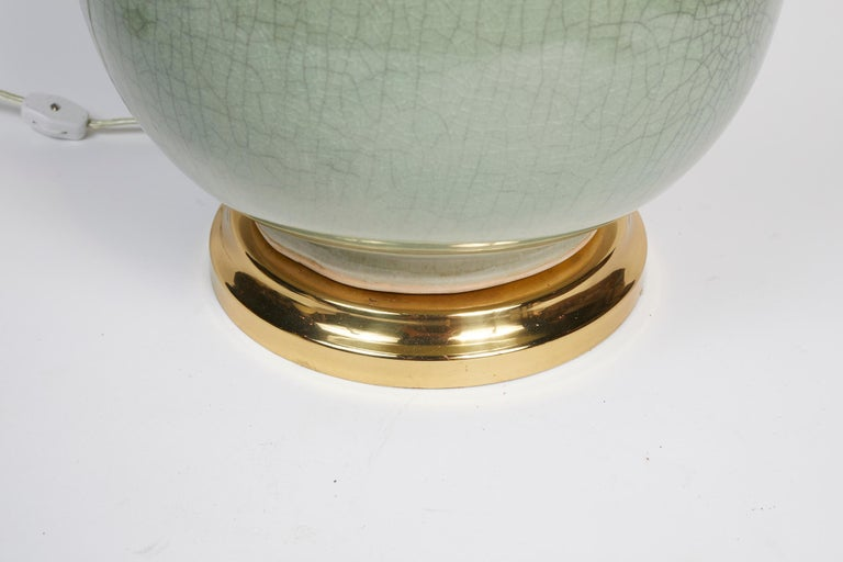 Elegant Pair of Celadon Crackle Table Lamps In Good Condition For Sale In Montreal, QC