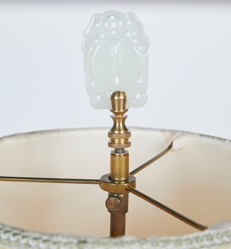 Late 20th Century Elegant Pair of Celadon Crackle Table Lamps For Sale