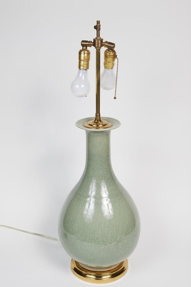 Elegant Pair of Celadon Crackle Table Lamps For Sale 1