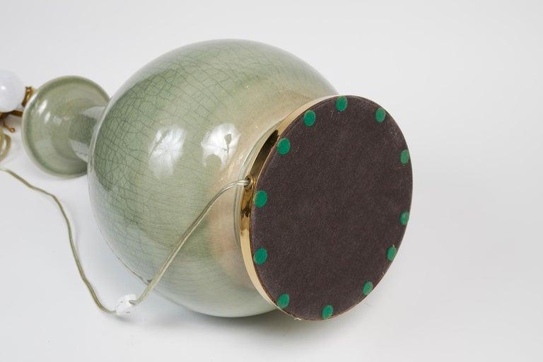 Elegant Pair of Celadon Crackle Table Lamps For Sale 4
