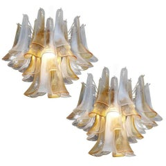 Elegant Pair of Chandeliers White and Amber Petals, Murano, 1990s