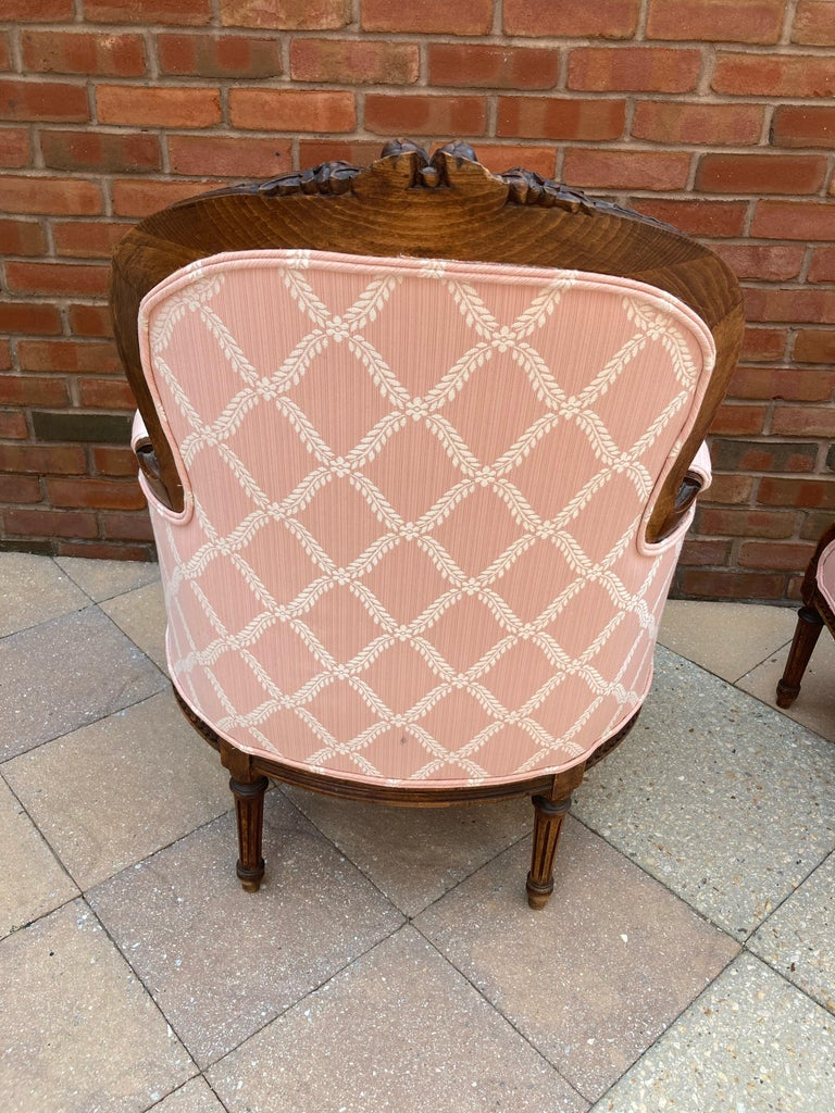 Elegant Pair of Classic French Style Bergere Chairs with Walnut Frames For Sale 3